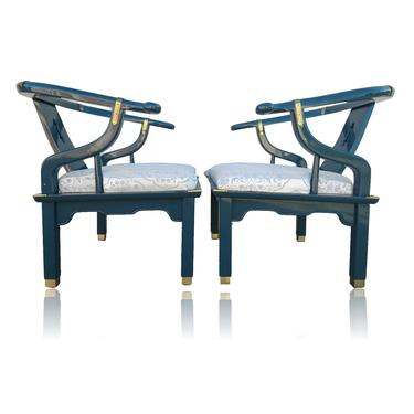 Vintage Pair Teal Lacquer Ming Horseshoe Arm Chairs in the Style of James Mont by Century Chair Company by VeronaVintageHome