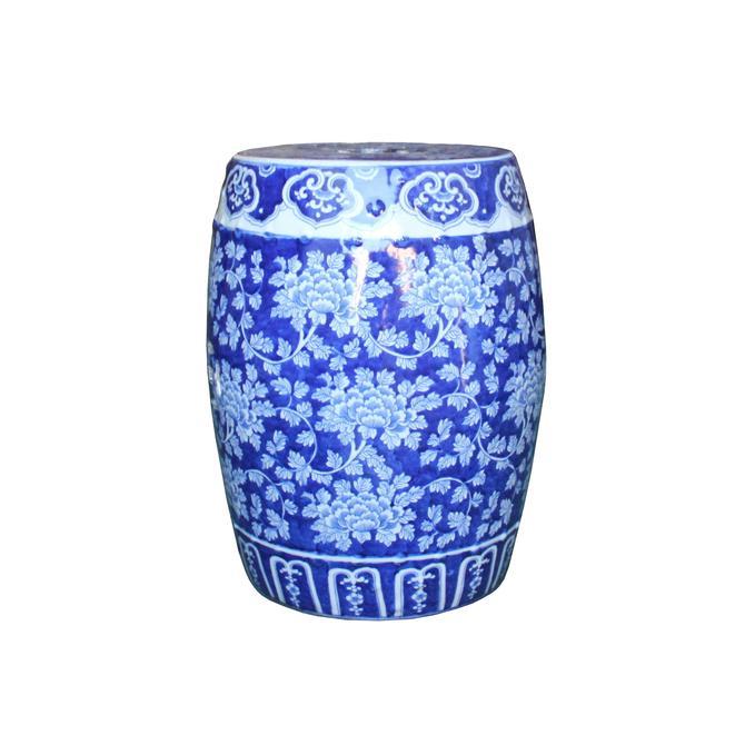 Chinese Blue & White Porcelain Floral Theme Round Stool Table ws1100E by GoldenLotusAntiques