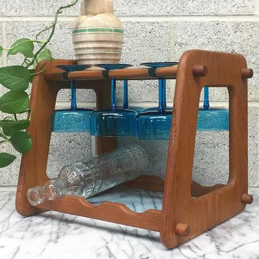 Vintage Wine Rack Retro 1970s Goodwood + 2 Tier + Brown Wood + Holds 3 Bottle + 6 Hanging Glass Storage + Open Top Shelf + Kitchen Decor by RetrospectVintage215