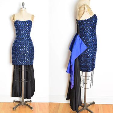 vintage 80s prom dress black blue sequin bow strapless party dress Gunne Sax XS clothing by huncamuncavintage