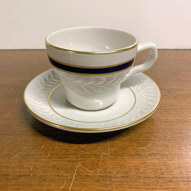 Vintage Shenango China Cobalt Blue Gold 5441 Tea Cup and Saucer Anchor Hocking by OverTheYearsFinds