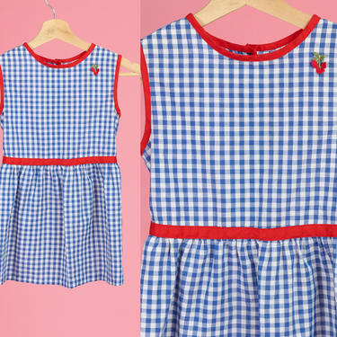 60s Silverette Blue Gingham Girl's Dress - Size 6X   Vintage Kids Clothing Button Back Red White & Blue Cherry Dress by FlyingAppleVintage