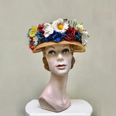 Vintage 1950s Floral Straw Hat, Natural Woven Flower Pot Hat, Boater, Bucket Hat, County Fair, Church Lady, New York Creations by RanchQueenVintage