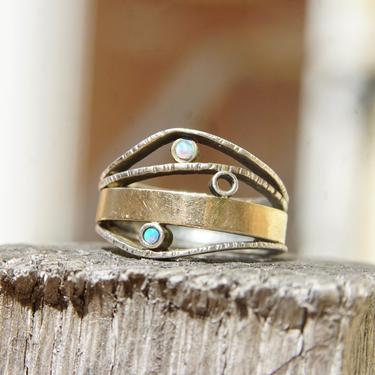Vintage Modernist Two-Tone Sterling Silver & Opal Ring, Textured Silver Band With Gold Wash And Accent Opal Gemstones, Israeli, 7 1/2 US by shopGoodsVintage