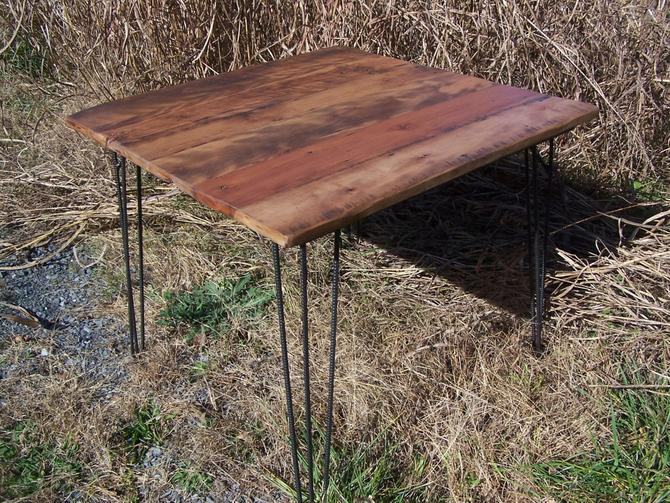 Breakfast Table with Reclaimed Wood Plank Top and Industrial Style Mid Century Modern Hairpin Legs by BarnWoodFurniture