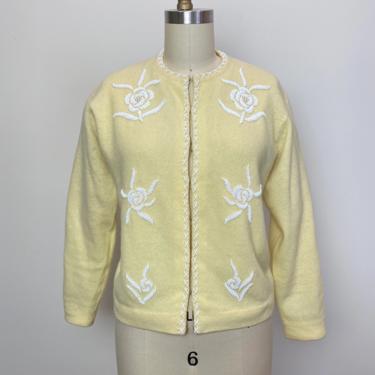 Vintage 1950s Beaded Sweater 50s Cardigan Size L by littlestarsvintage