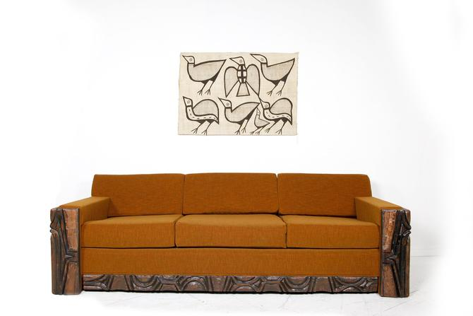 Vintage MCM brutalist sofa with orange fabric | Free delivery in NYC and Hudson areas by OmasaProjects