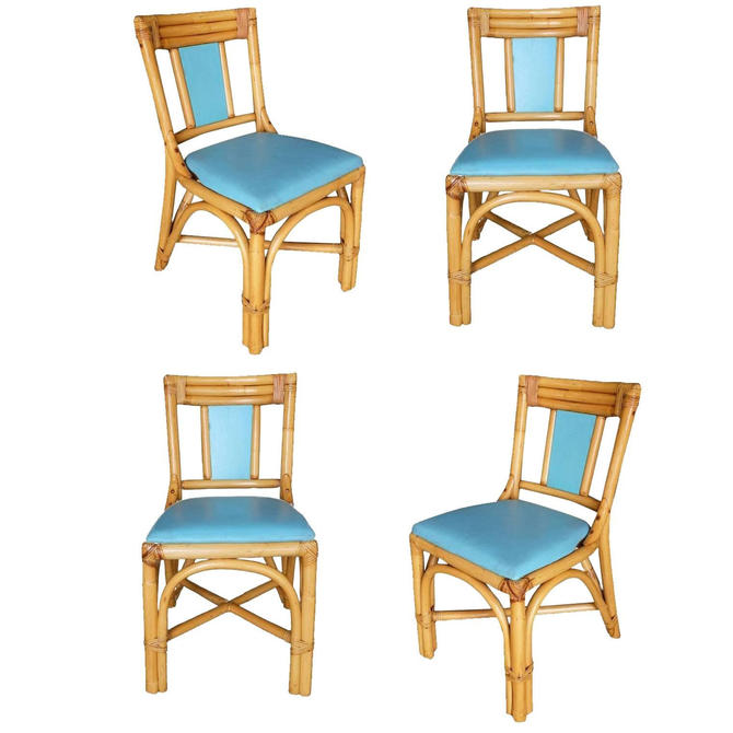 "Restored Mid-Century ""T-Back"" Rattan Dining Side Chair, Set of Four by HarveysonBeverly"