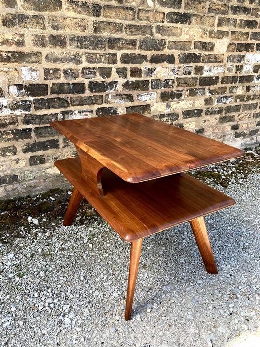 Vintage Solid Walnut Side Table by Bissman