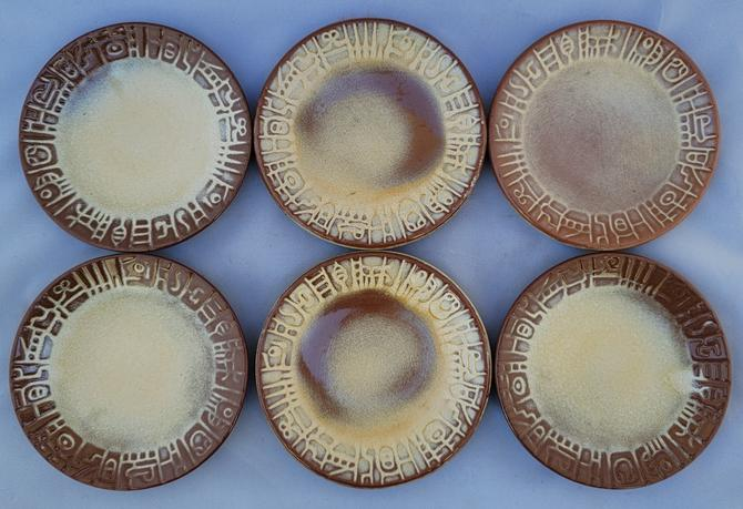 """Vintage Frankoma """"Mayan Aztec Desert Gold"""" Bread and Butter B&b Plates - Set of 6"""