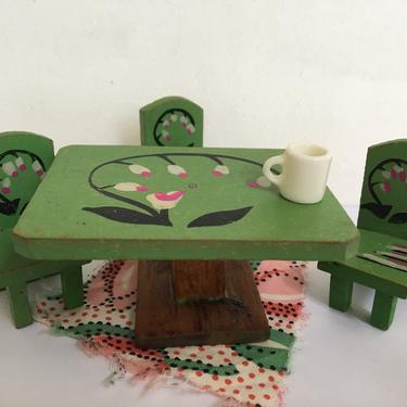 Dollhouse Kitchen Table And Chairs, Vintage Made In Japan, Hand Painted Green Pink Floral, Wooden Miniatures by luckduck