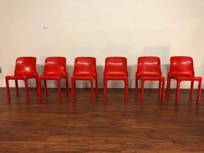 Vico Magistretti Vintage Red Stacking Chairs by Vintagefurnitureetc