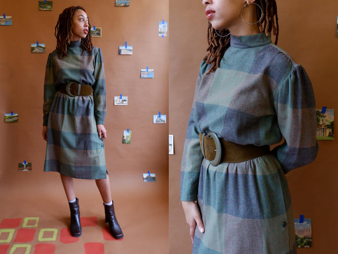 Vintage Wool Checked Dress with Mock Neck and Side Buttons/ 1980s Green Winter Dress/ Size Medium Large by bottleofbread