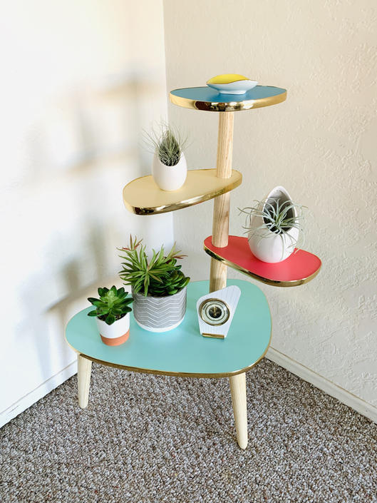 Tiered Plant Table, Formica Side Table, Mid Century Indoor Planter, German Retro Table, Side Table End Table, Atomic Table, Space Age by dadacat