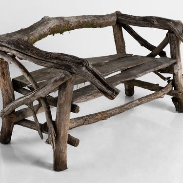 Handmade Tree Branch Garden Bench