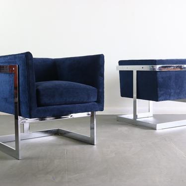 FLASH SALE Chrome Club Chairs in Deep Navy Blue by Milo Baughman by ABTModern