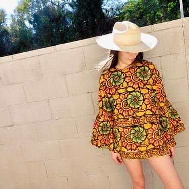 Indian Sunflower Tunic // vintage 70s mini dress blouse boho hippie hippy 1970s cotton India // O/S by FenixVintage
