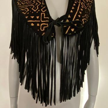 Vintage leather fringe Cape top, tribal brunt leather top black fringe tribal print top size small medium s m by RETROSPECTNYC