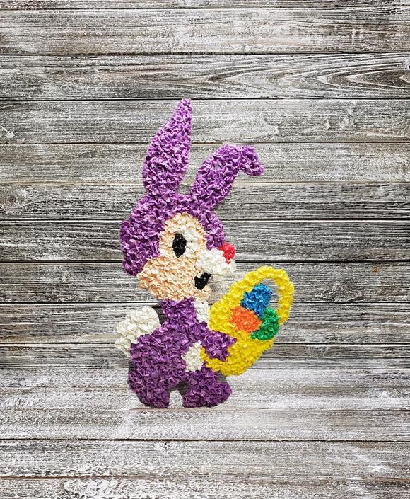 Vintage Plastic Popcorn Bunny, Retro Easter Kitsch Wall Hanging, Kage Company, Purple Rabbit Window or Door Decoration, Vintage Holiday by AGoGoVintage