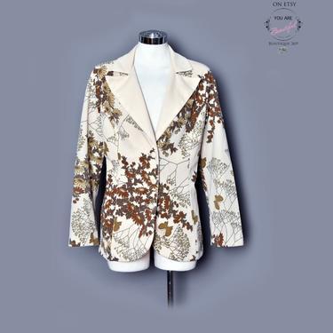 ALFRED SHAHEEN Butterflies - Vintage Blazer Jacket Coat 1970's, 1960's Hawaiian, Hawaii, Vintage Dress, Tan, Ossie Clark style, Wide Lapels by Boutique369