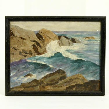 Signed Rocks and Surf Study in Oil