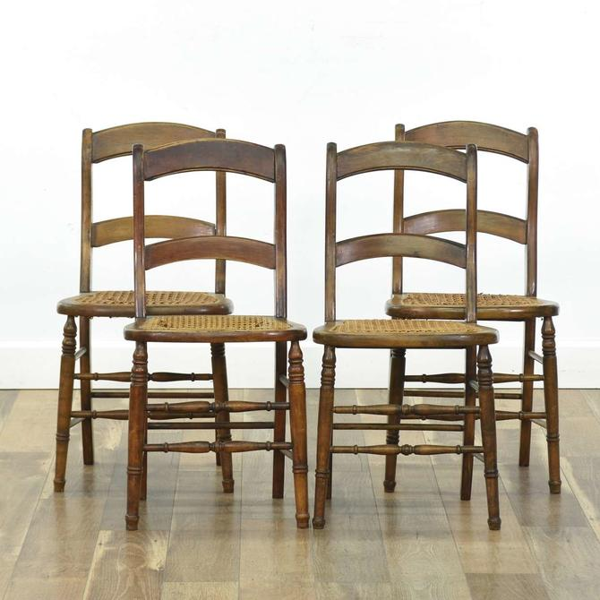 Set Of 4 Antique Cane Seat Dining Chairs