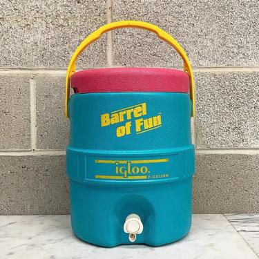Vintage Igloo Jug Retro 1990s Barrel of Fun + 2 Gallon + Plastic + Drink and Liquid Holder + Cold Beverages + Indoor or Outdoor + Picnic by RetrospectVintage215