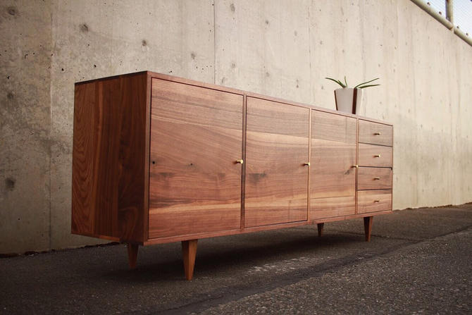 Danish Modern Console, Mid-Century Modern Credenza, Modern Sideboard, Solid Wood Sideboard (Shown in Walnut) by TomfooleryWood