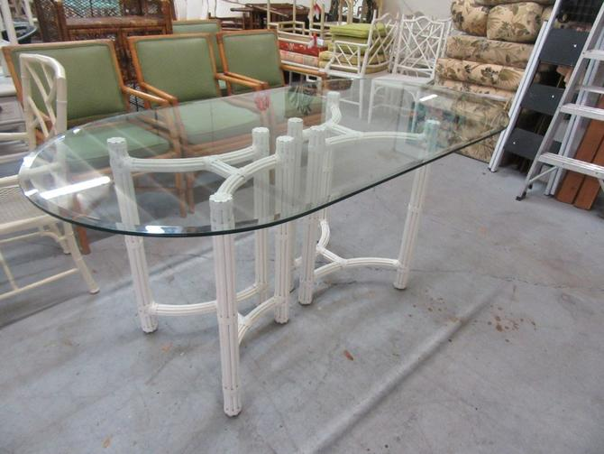 Oval Bamboo Pedestal Table