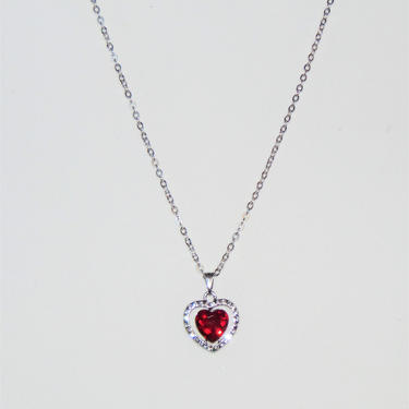 Gorgeous Faceted Heart Pendant Necklaces- Available in: Red, Black, Pink, AB, Clear by AllMyItems