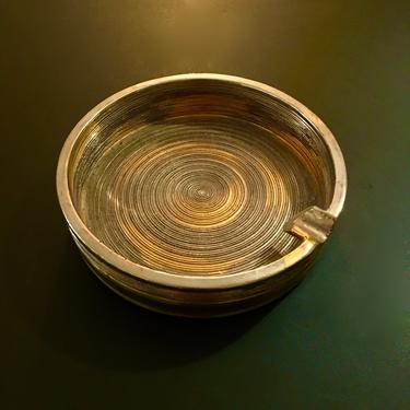 A Large Vintage Mid Century Raymor Gold Colored Ceramic Ash Tray Designed and Made in Italy by modern2120