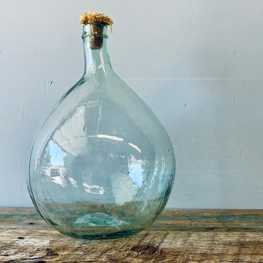 Antique Demijohn   Green Glass Jar   Large Vase Bottle with Cork   Italian Wine Jug   French Farmhouse Decor   Kitchen Dining Bar by PiccadillyPrairie