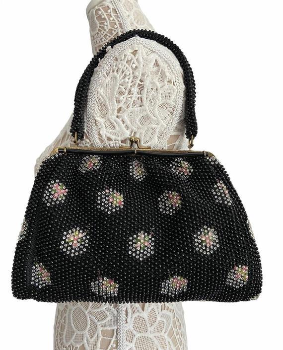 50s Black Corde Bead Handbag by InstantVintage78