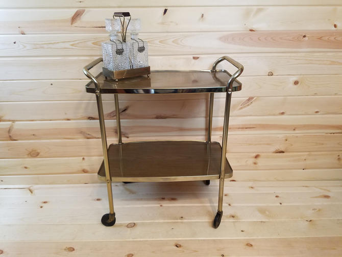 Cosco Faux Wood and Brass Serving Bar Cart by RedsRustyRelics