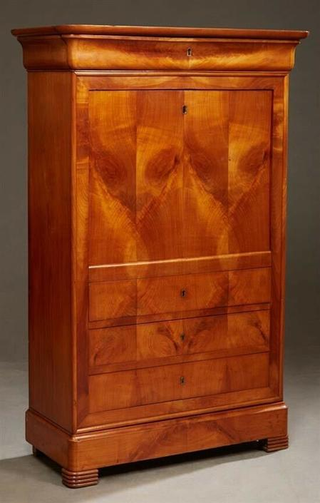 Antique French Louis Philippe Style Carved Cherry Secretaire Fall Front Desk