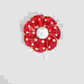 1960s little red flower brooch by flutterandecho