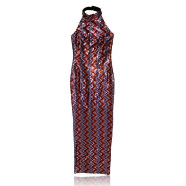 High Neck Halter Sequin Chevron Maxi Dress // Evening Gown Cocktail Dress // Purple & Red Size Small by RadThingsVintage