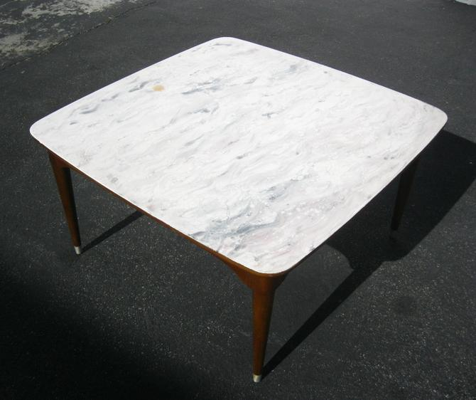 Vintage B.P. John Danish Mid Century Coffee Table ~ White Faux Marble Top by VintageLAfurniture
