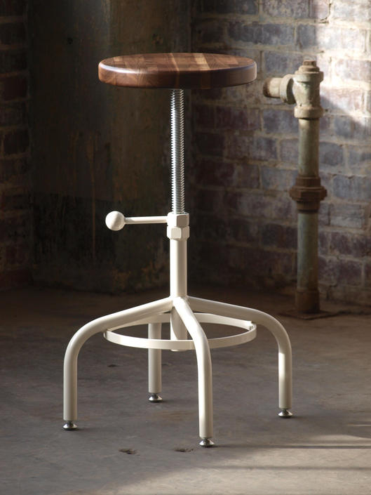 Industrial Stool Walnut Adjustable Drill Press Stool with Almond base bar stools by CamposIronWorks