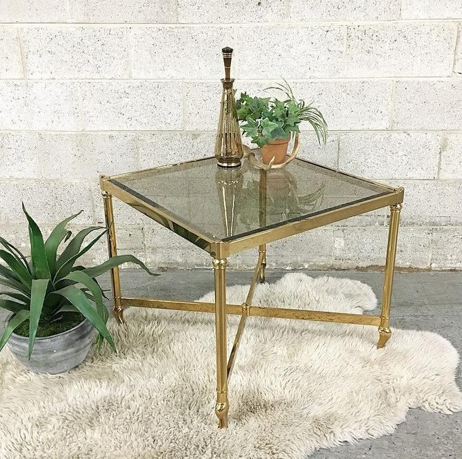 LOCAL PICKUP ONLY ----------- Vintage Metal + Glass Table by RetrospectVintage215