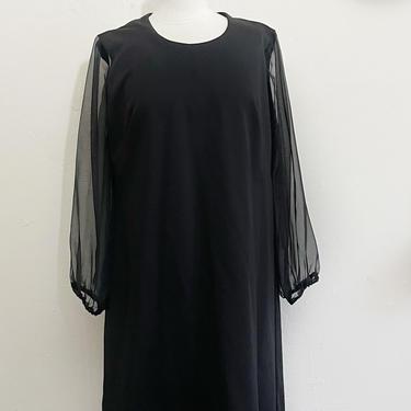 Vintage Megan Shift Dress | 60s Mod Black Sheer Bishop Sleeve Dress by blindcatvintage