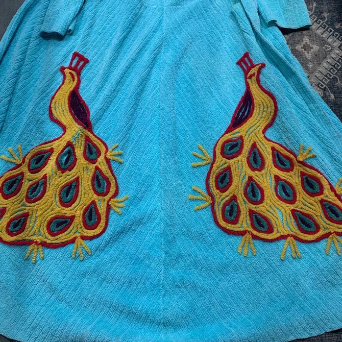 Amazing 1940s Aqua Chenille Double Peacock Robe With Pocket & Attached Belt by AmalgamatedShop