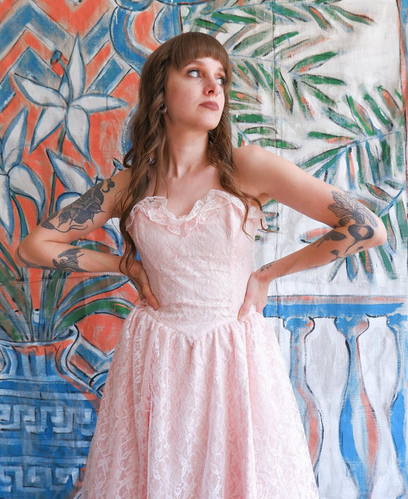 Vintage 80s Pink Lace Gunne Sax Strapless Dress/ 1980s Pastel Sweetheart Gown/ Size Small by bottleofbread