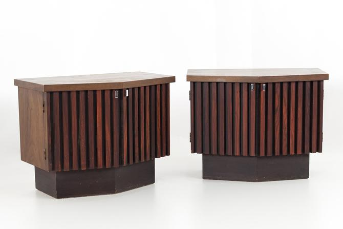 Lane Tower Suite Mid Century Walnut and Rosewood Platform Nightstands - Matching Pair - mcm by ModernHill