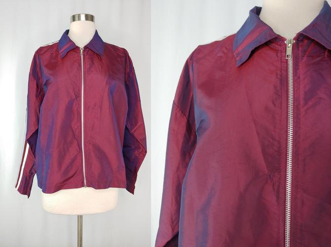 Y2K 2000 Vintage Iridescent Track Jacket - Big Flirt Medium Red Blue Striped Zip Up Jacket by JanetandJaneVintage