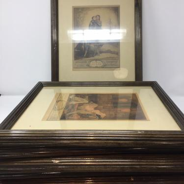 """André Lambert engravings Set 7 framed french """" Deadly Sins """""""