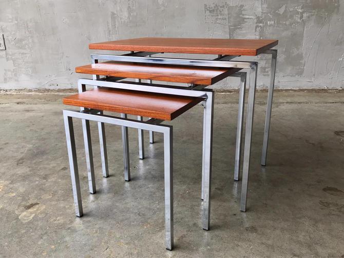 Teak & Chrome Nesting Tables. by FandFVintage