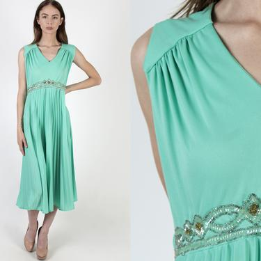 Vintage 70s Sequin Beaded Dress / Mint Disco Lounge Cocktail Party Dress / Grecian Style Roman Dress / Encrusted Belted Waistline Midi Maxi by americanarchive