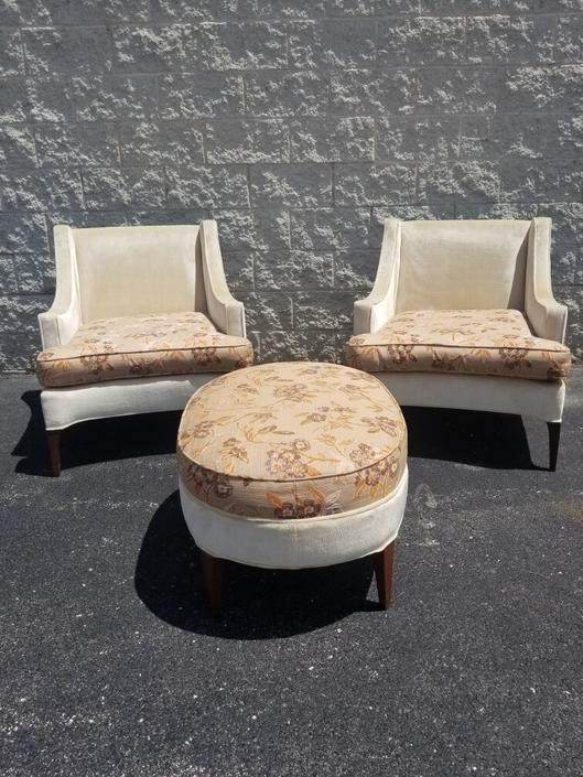 Beautiful Vintage Designer Low Seated Highback Club Chairs and Ottoman