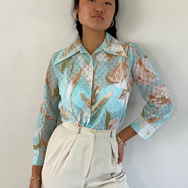 70s sheer mesh blouse / vintage sea foam aqua sheer floral botanical polyester eyelet mesh butterfly pointy collar blouse | S by RecapVintageStudio